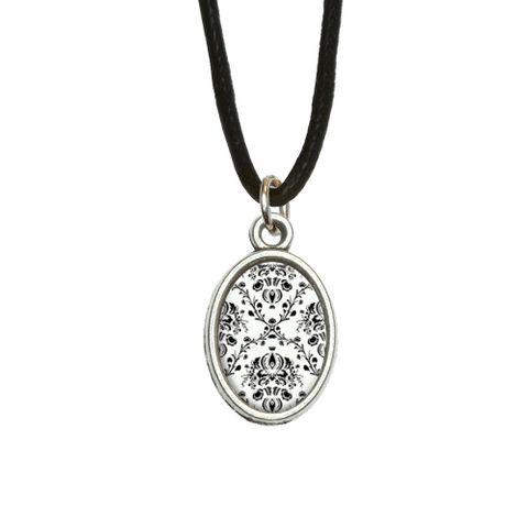 Damask Elegant Black White Oval Charm Pendant
