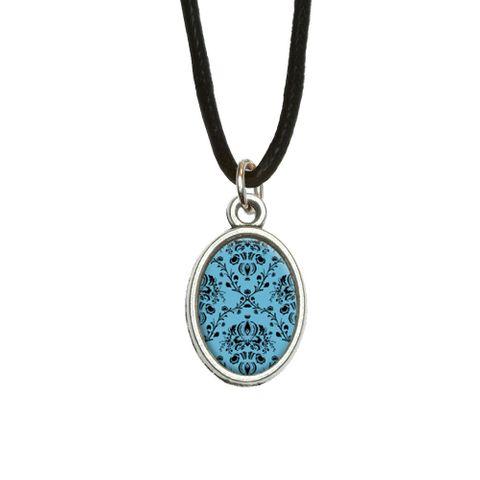 Damask Elegant Blue Black Oval Charm Pendant