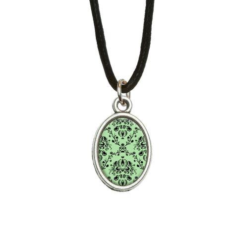 Damask Elegant Mint Green Black Oval Charm Pendant