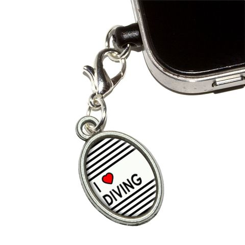 I Love Heart Diving Oval Mobile Phone Charm