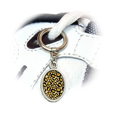 Jaguar Print Oval Shoe Charm