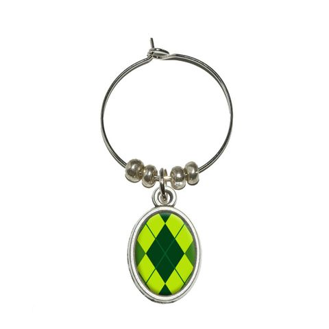 Argyle Hipster Green - Preppy Oval Wine Glass Charm