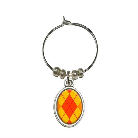 Argyle Hipster Orange - Preppy Oval Wine Glass Charm