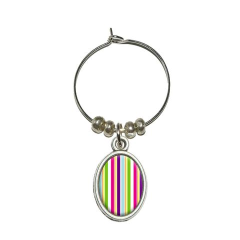 Yuppy Colorful Stripes Oval Wine Glass Charm