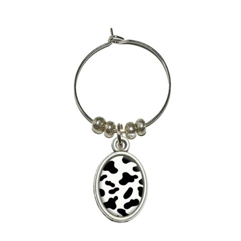 Cow Print Black White Oval Wine Glass Charm