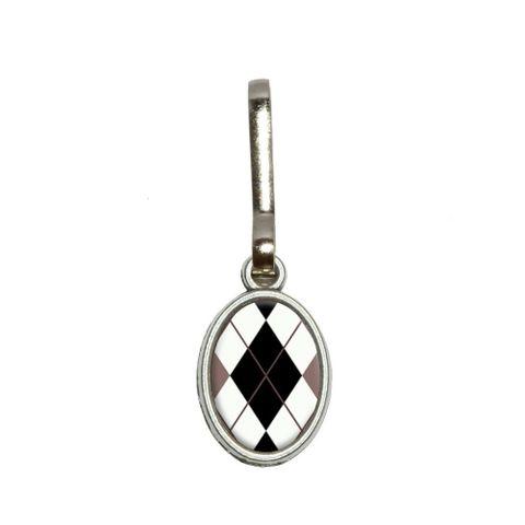 Argyle Hipster Black White - Preppy Oval Zipper Pull