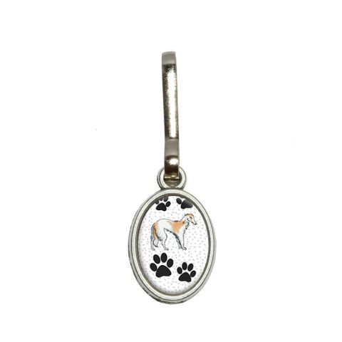 Borzoi of Excellence Oval Zipper Pull