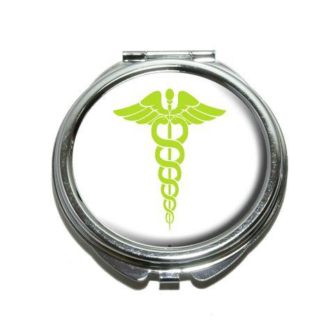 Caduceus Medical Symbol Green - Doctor MD RN EMT Compact Mirror