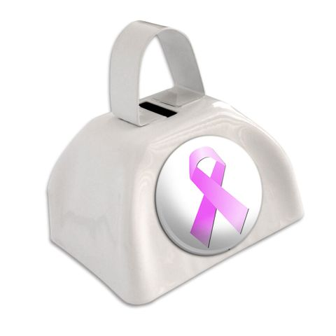 Breast Cancer Pink Ribbon White Cowbell Cow Bell