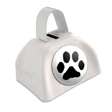 Paw Print White Cowbell Cow Bell