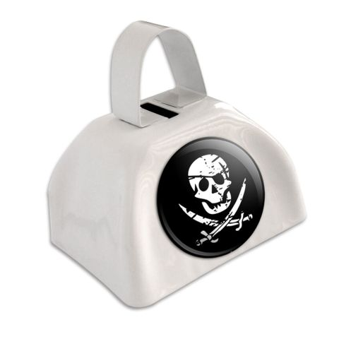 Pirate Skull Crossed Swords White Cowbell Cow Bell