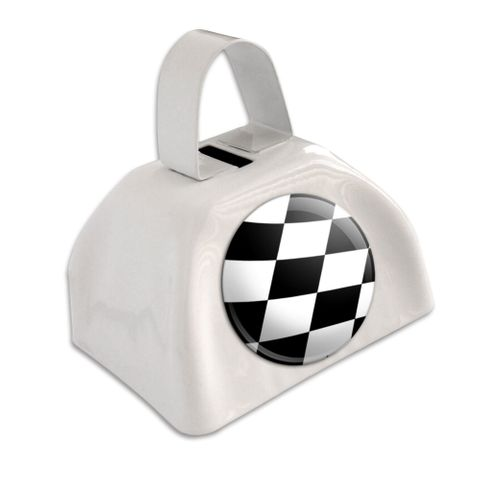 Checkered Flag - Racing White Cowbell Cow Bell