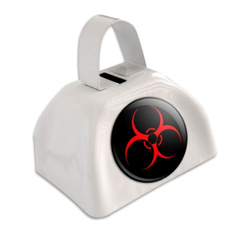 Biohazard Warning Symbol White Cowbell Cow Bell