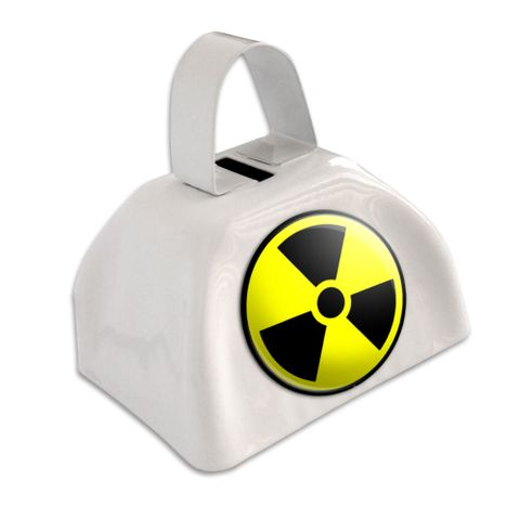 Radioactive Nuclear Warning Symbol White Cowbell Cow Bell