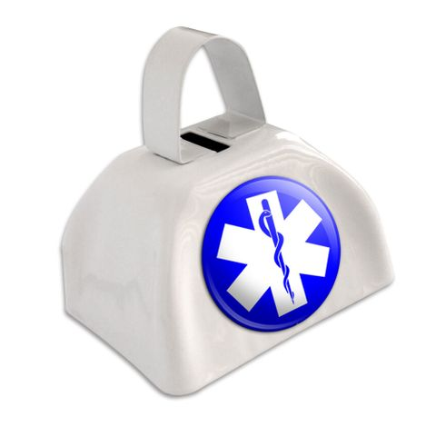 Star of Life - EMT RN MD White Cowbell Cow Bell