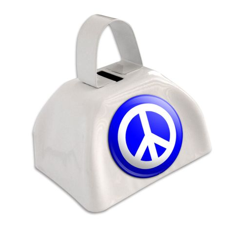Peace Sign Symbol - Blue White Cowbell Cow Bell