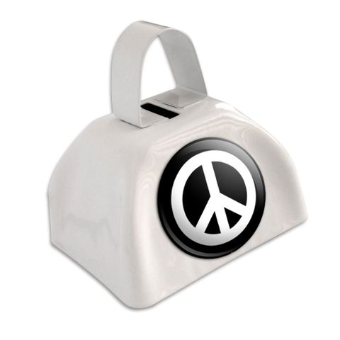Peace Sign Symbol - Black White Cowbell Cow Bell