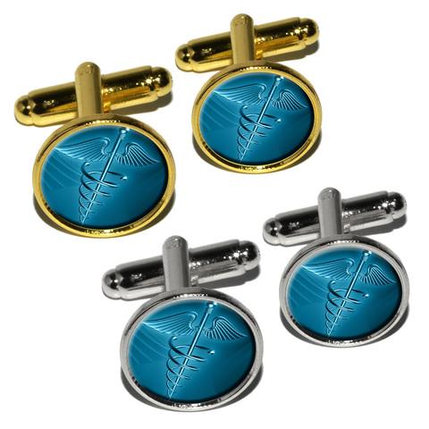 Medical Caduceus Symbol - EMT RN MD Round Cufflinks