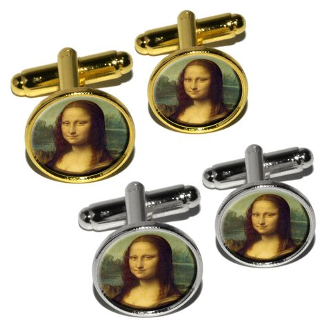 Mona Lisa Painting by Leonardo da Vinci Round Cufflinks