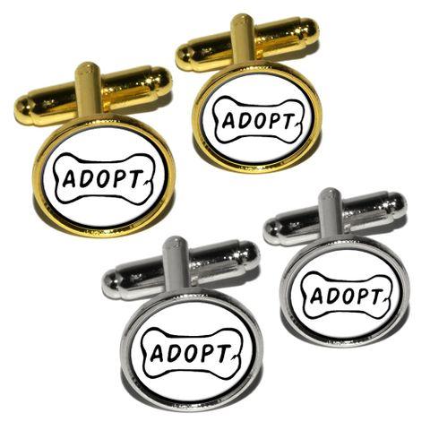 Adopt Dog Bone - Animal Shelter Adoption Round Cufflinks