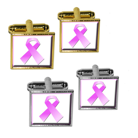 Breast Cancer Pink Ribbon Square Cufflinks