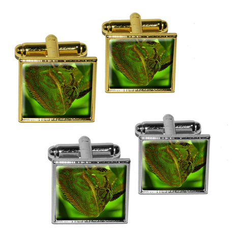 Chameleon Blending in with Green Leaves - Lizard Reptile Square Cufflinks