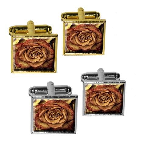 Vintage Red Yellow Roses Square Cufflinks