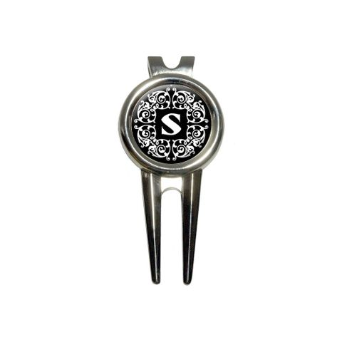 Letter S Initial Black and White Scrolls Golf Divot Repair Tool