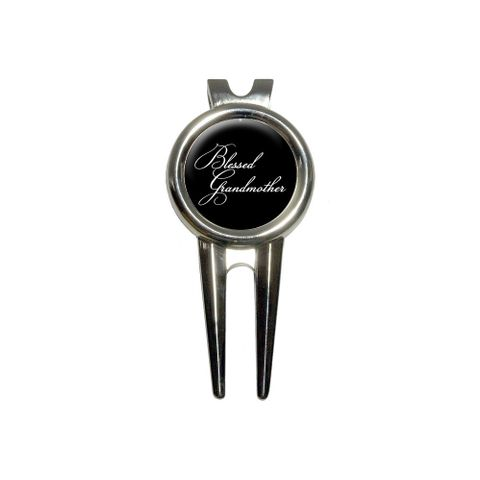Blessed Grandmother on Black Golf Divot Repair Tool