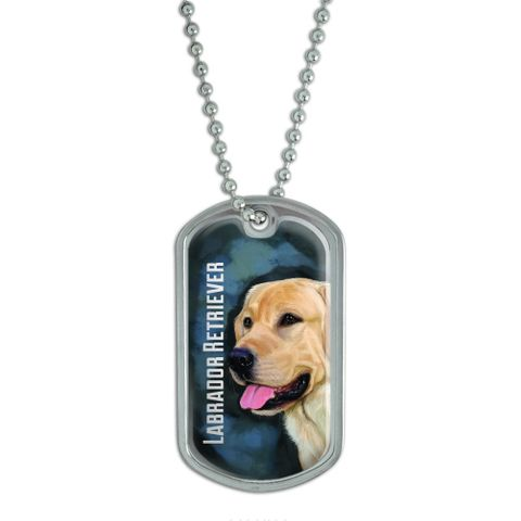 Yellow Labrador Retriever Blue - Dog Pet Dog Tag