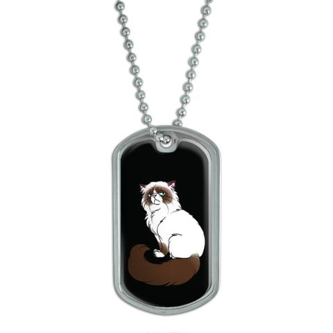 Persian Cat Himalayan Color Points on Black - Pet Dog Tag