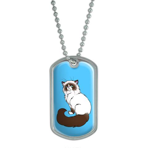 Persian Cat Himalayan Color Points on Blue - Pet Dog Tag