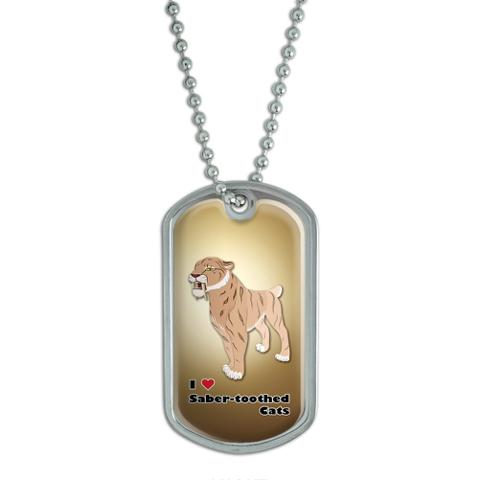 I Love Heart Saber-Toothed Cat Sabertooth Tiger - Prehistoric Ice Age Dog Tag