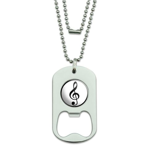Treble Clef - Music Dog Tag Bottle Opener