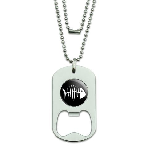 Fish Bones Dog Tag Bottle Opener