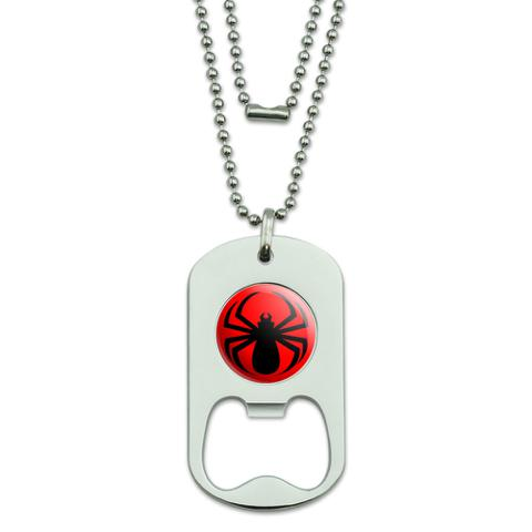 Spider Black on Red Dog Tag Bottle Opener