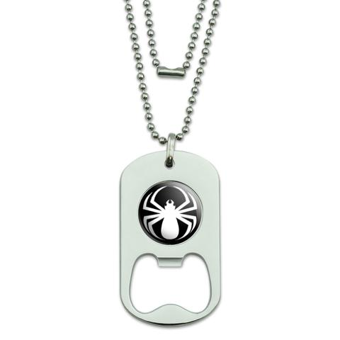 Spider White - Black Widow Dog Tag Bottle Opener