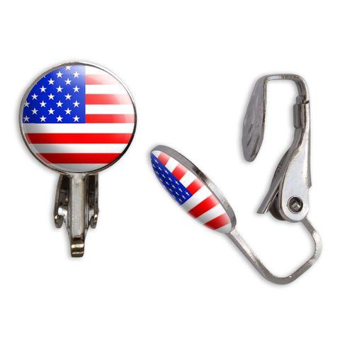 USA Flag Clip-On Stud Earrings