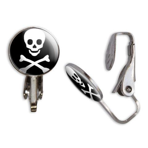 Skull and Crossbones Clip-On Stud Earrings