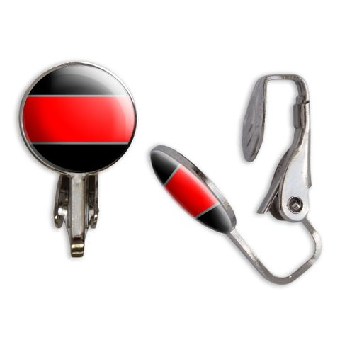 Thin Red Line Clip-On Stud Earrings