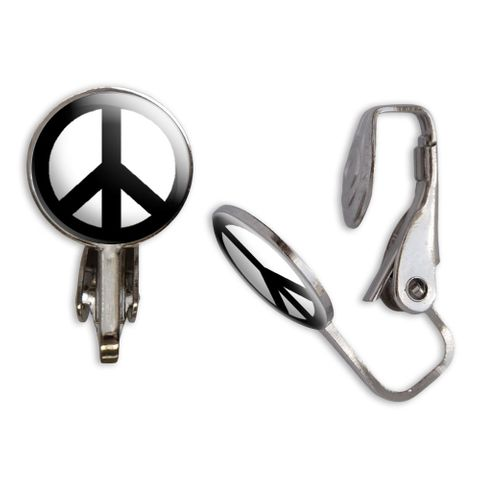 Peace Sign Clip-On Stud Earrings
