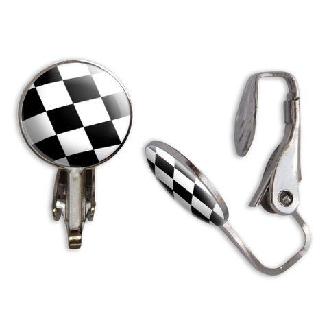 Checkered Flag Clip-On Stud Earrings