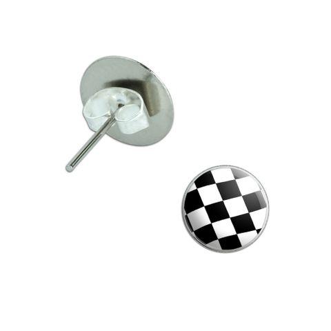 Checkered Flag Pierced Stud Earrings