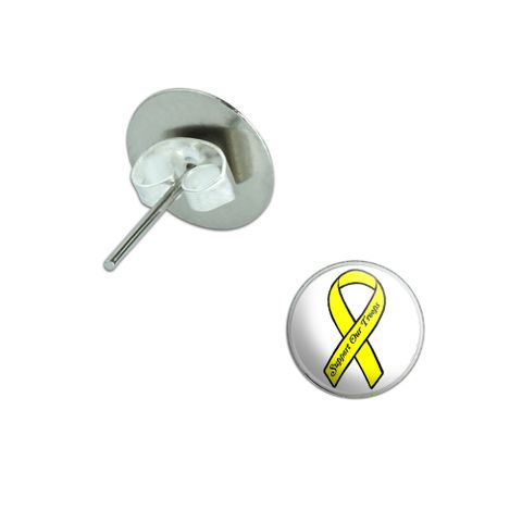 Support our Troops Ribbon - Yellow Pierced Stud Earrings