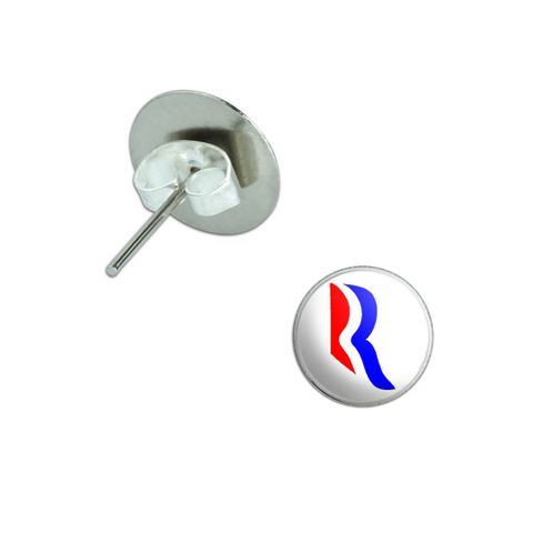 Romney 2012 - Romney Logo - USA Pierced Stud Earrings
