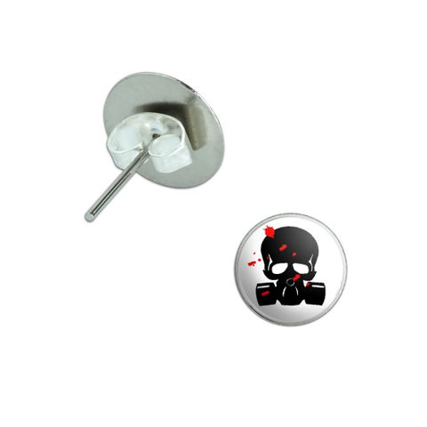 Zombie Outbreak Response Team - Blood - Skull Gas Mask Pierced Stud Earrings