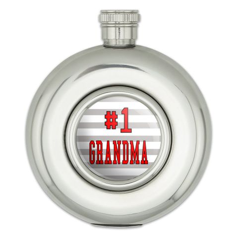 #1 Grandma Number One Grandmother Round Stainless Steel 5oz Hip Flask