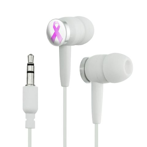 Breast Cancer Pink Ribbon Novelty In-Ear Earbud Headphones