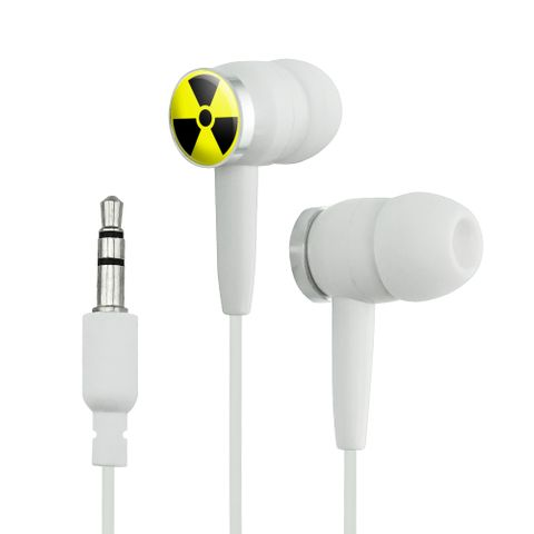 Radioactive Nuclear Warning Symbol Novelty In-Ear Earbud Headphones
