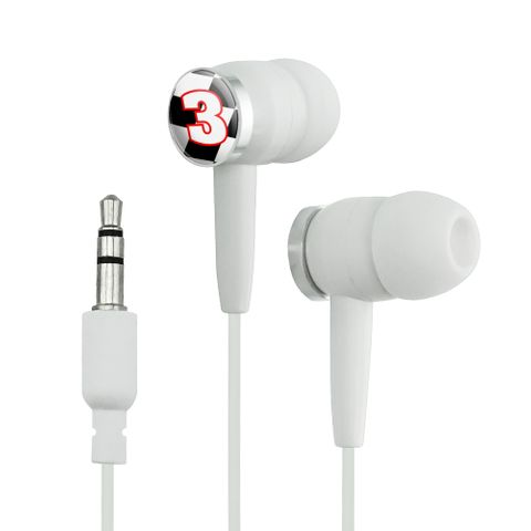 Number 3 Checkered Flag Racing Novelty In-Ear Earbud Headphones